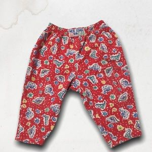 Red With Cartoons Baby Pants 6M